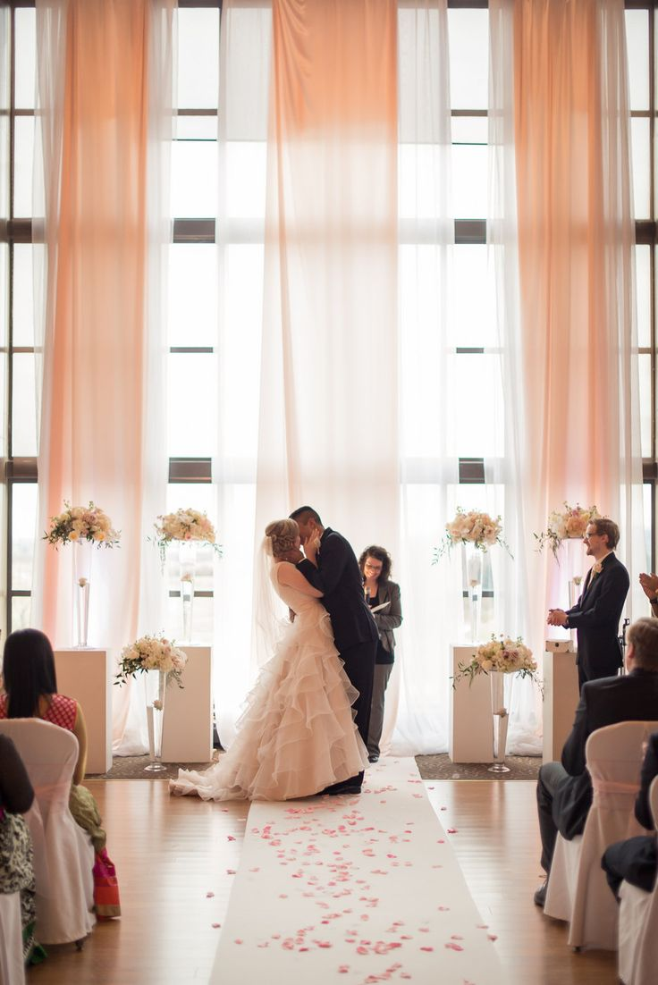 beautiful pink wedding ceremony at swan e set golf course