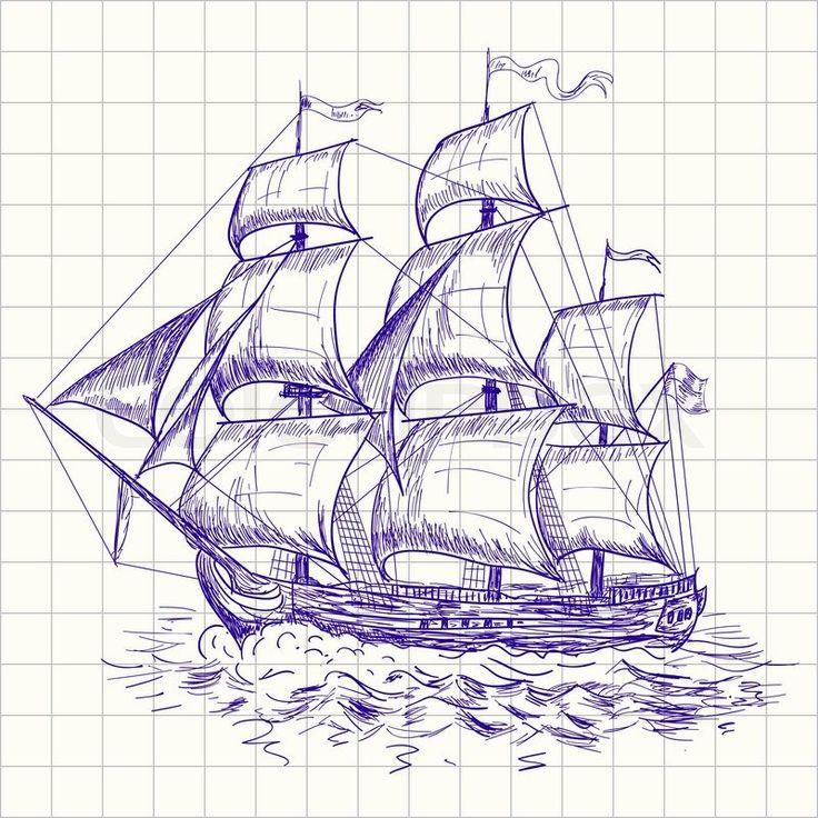 Stock-Vektor von 'zeichnen, Schiff, Boot'
