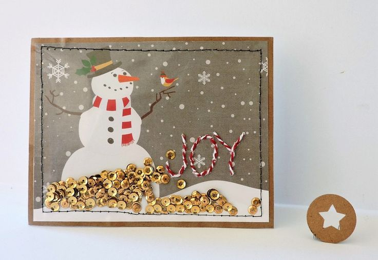 Custom Rustic Snowman Stitched Joy Shaker Card with Matching Envelope Seal - Family Christmas Card - Blank Holiday Card - Interactive Card by MJsKraze on Etsy