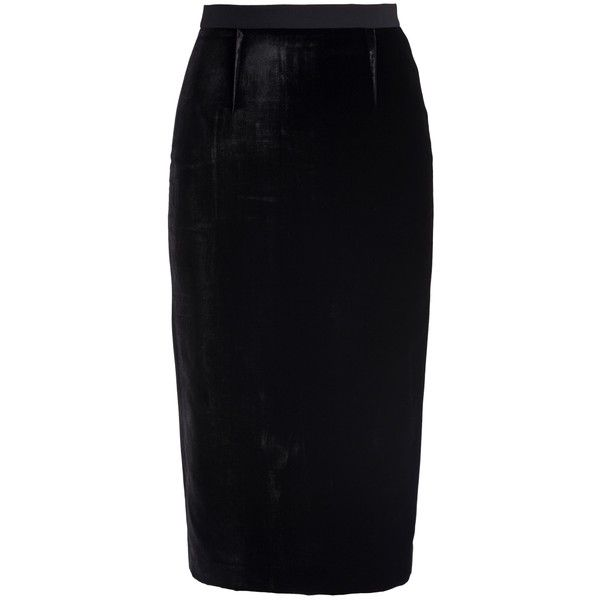 Roland Mouret Arreton Velvet Skirt ($721) ❤ liked on Polyvore featuring skirts, slit pencil skirt, roland mouret, velvet skirt, knee length pencil skirt and blue pencil skirt