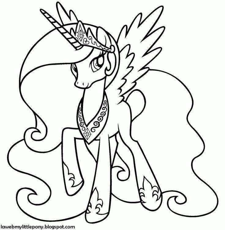 My Little Pony: Dibujos para colorear de la Princesa Celestia de ...