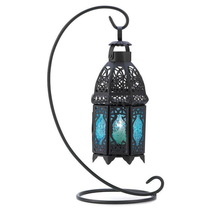 NEW Sapphire Nights Blue Glass Black Iron Candleholder Lantern Table Centerpiece #Unbranded
