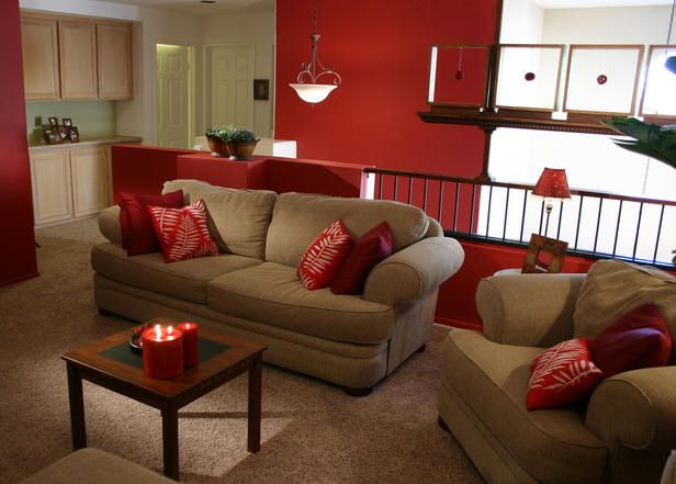 Red Accent Wall With Accents In Room