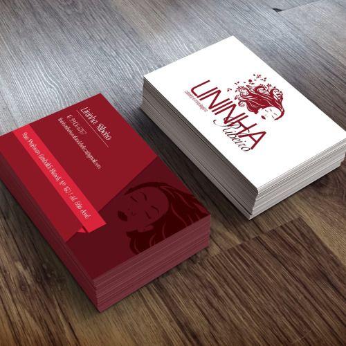 Sacola Off Set / Logotipo Cartão de visita Lininha Ribeiro | Salão de beleza Briefing: Criar um logo que transmita algo relaxante, beleza e na cor vinho. Cartão de visita com a cor do logo, diferenciado.