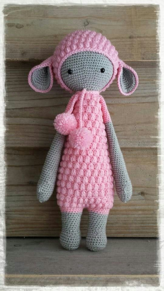 lalylala Lupo  I AM MAKING HER NOW IN CREAM AND SALMON COLURING.  I will make little heart ties and not pom poms.