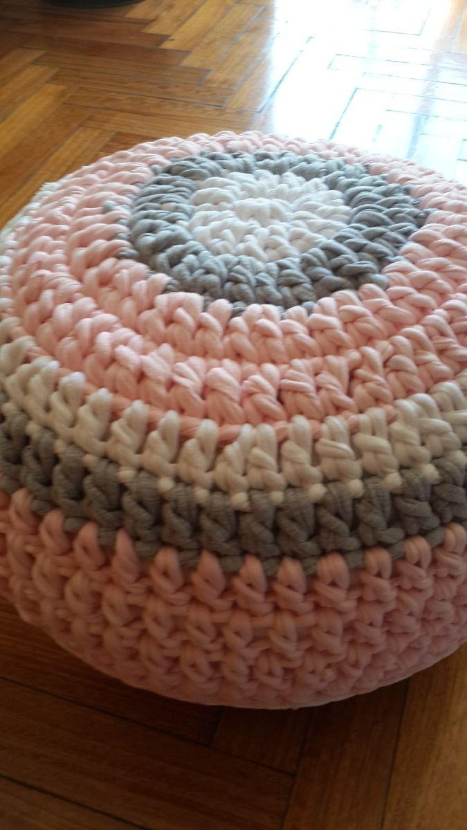 Puff Tejido A Mano (crochet Totora Artesanal) - $ 350,00 en MercadoLibre