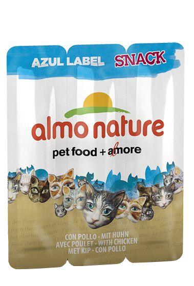 lo snack per gatti Azul Label è disponibile in due ricette e composto da ingredienti puri cioè senza alcun additivo aggiunto, neppure quelli che la legge definisce come «additivi nutrizionali» (vitamine e minerali).