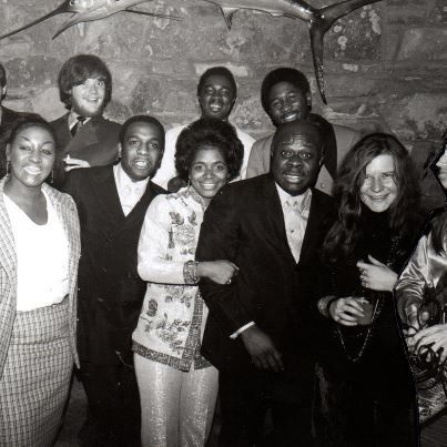 Steve Cropper, Duck Dunn, Carla Thomas, Rufus Thomas, Janis Joplin and Sam Andrew at a Stax Volt Christmas party in Memphis