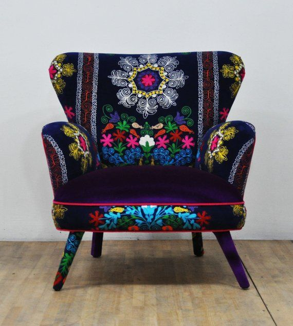 Suzani Armchair purple sky   Etsy   Whimsical furniture ...