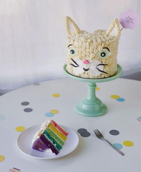 Rainbow Cat Cake Slice - Toddler Birthday Cakes on Craftsy