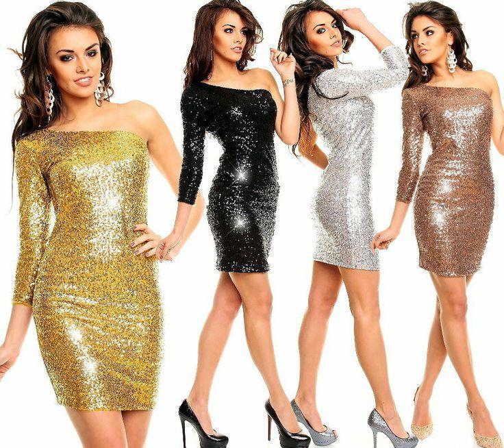 Pailletten Bandeau Vokuhila Silvester Kleid Abendkleid* S M L XL-36 38 40 42