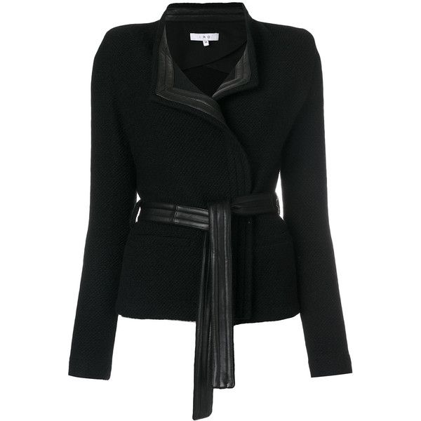 Iro leather trim blazer ($702) ❤ liked on Polyvore featuring outerwear, jackets, blazers, black, leather trim blazer, leather blazer jacket, 100 leather jacket, leather blazer and leather jackets