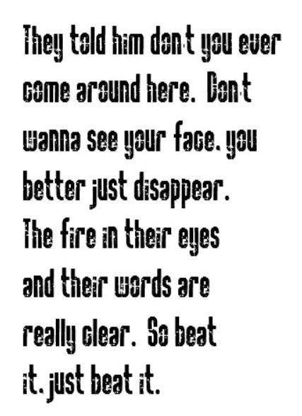 Michael Jackson - Beat It - song lyrics, song quotes, songs, music quotes, music lyrics