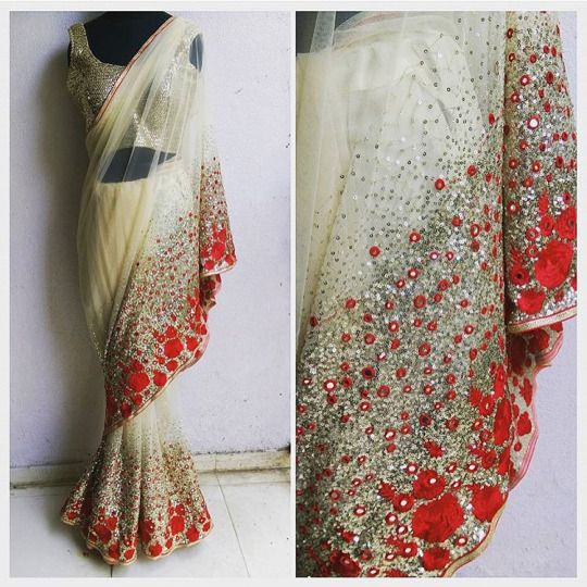 Heavy Sequence mirror and thread work on saree.. Perfect for reception Party.. Get it done at http://mytailor.in/