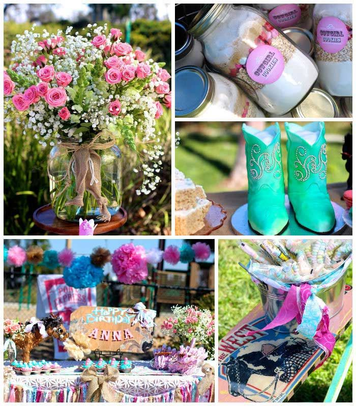 Vintage Cowgirl themed birthday party with Lots of Really Cute Ideas via Kara's Party Ideas | Cake, decor, cupcakes, games and more! KarasPartyIdeas.com #cowgirlparty #westernparty #partyideas #partydecor