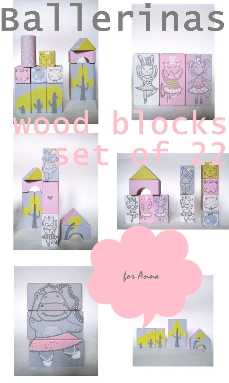hand painted wood blocks