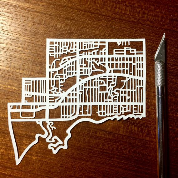 Hand cut paper map of The Beach ward 32 in Toronto ON by CUTdesignsrt