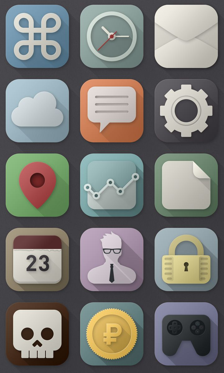 A long shadows icon set provided exclusively for Freebiesbug by Lex Keller, a talented UI designer.