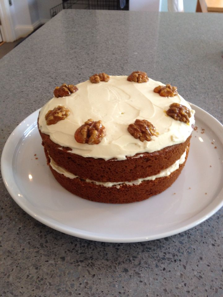 Carrot cake with glazed walnuts.  Love the addition of the caramelised nuts with the cream cheese icing.