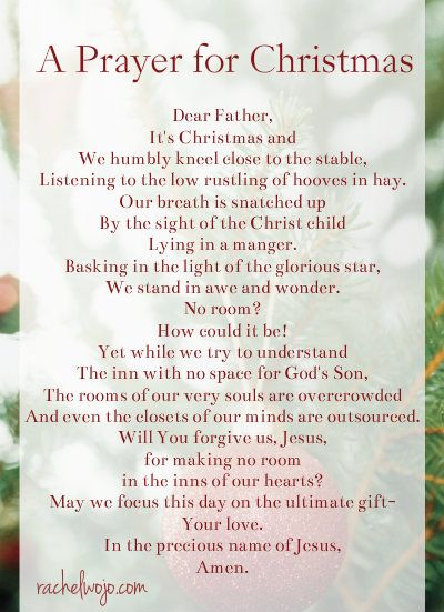 a simple prayer for Christmas Day: