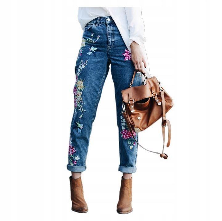 Spodnie Damskie Jeansy Haft Naszywki Kwiaty M 38 Flower Embroidered Jeans Embroidered Mom Jeans High Waist Jeans
