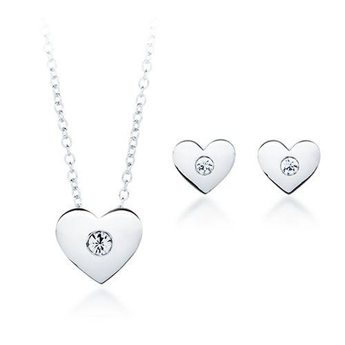 Modern Crystal on a Heart Set with Swarovski® Crystals