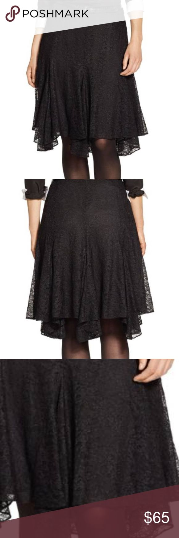 """Lauren Chantilly Lace Handkerchief Plus Skirt Pretty Chantilly lace and a fanciful handkerchief hem bring romantic charm to a flattering skirt that starts out slim at the waist and hips before flaring to a fully, swingy finish. Black Lace  Lined Pleated Skirt perfect for the holidays 24"""" length (size 18W). Hidden side-zip closure. Fully lined. 100% nylon. Lauren Ralph Lauren Skirts Midi"""