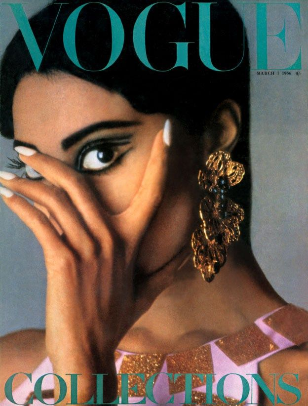 """Vogue UK March 1966 cover featuring Donyale Luna. First Black American Woman on the cover of any addition of Vogue. *Note: In British Vogue recent book """"Vogue Covers: Fashions Front Page, this cover is not included."""