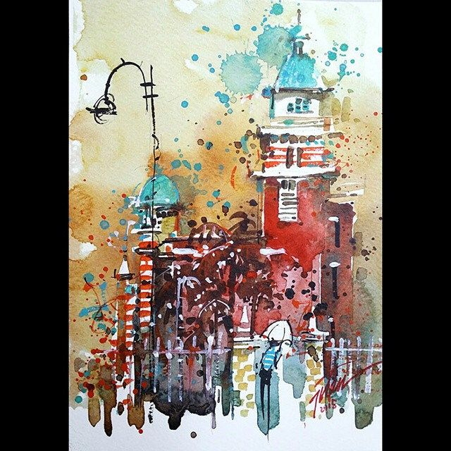 """""""Central Fire Station, Singapore"""" 29Jul2015 15x20cm Mixed media"""
