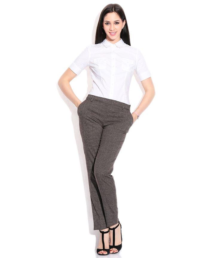 Wills Lifestyle Gray Tr Spandex Slim Trousers