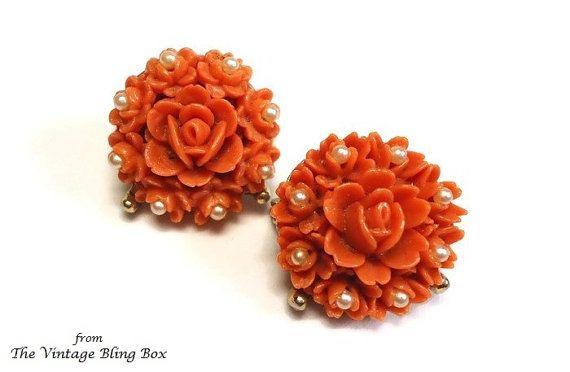 40's Celluloid Pearl Scatter Pin Roses with by TheVintageBlingBox