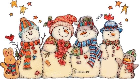 Cute Snowmans Gif Glitter Sevimli Kardan Adamlar Hareketli Resim - Renkli Duvar