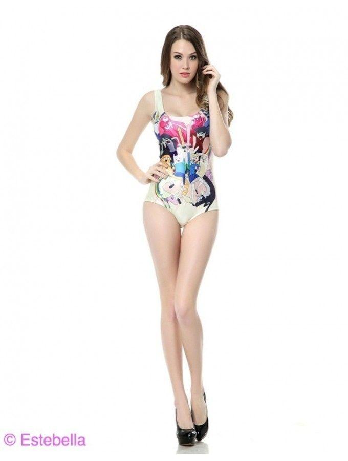 Beau Printed Strappy Swimsuit Luxurious One Piece Swimwear