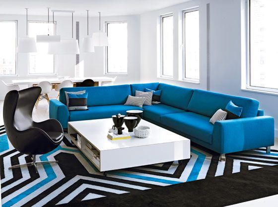 Black White And Blue Living Room My Web Value