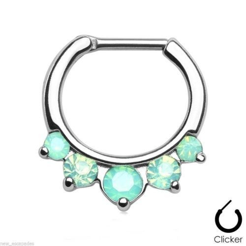"Septum Nose Clicker w/5 Opalite Green Pronged Gems 16 Gauge 5/16"" Steel Body Jew"