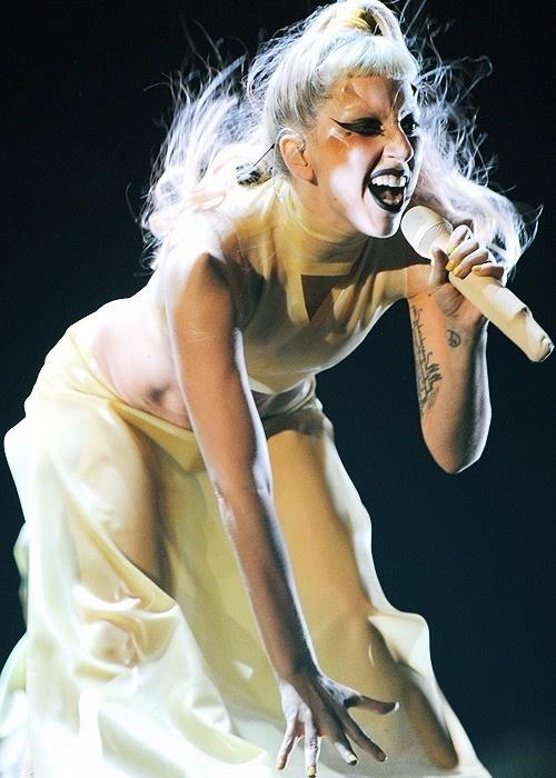 Lady Gaga performing 'Born This Way' at 2011 Annual Grammy Awards.