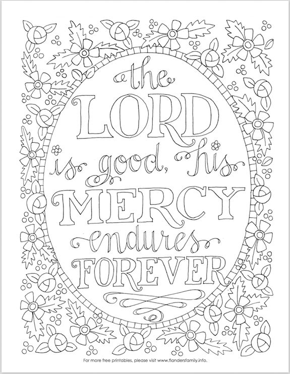 Free printable coloring pages with Scripture emphasis from flandersfamily.info -- Bible based, so you can meditate on the truth of scripture while you relax and color!