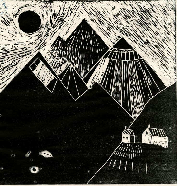 Katt Frank - A lino cut of some mountains in Norway.