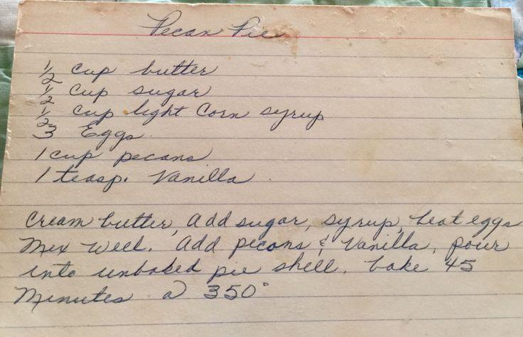 Pecan Pie - vintage recipe