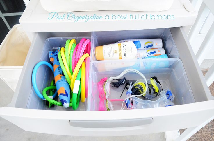 Simple and easy to implement method of keeping all those pool supplies organized and close at hand. Via A Bowl Full of Lemons