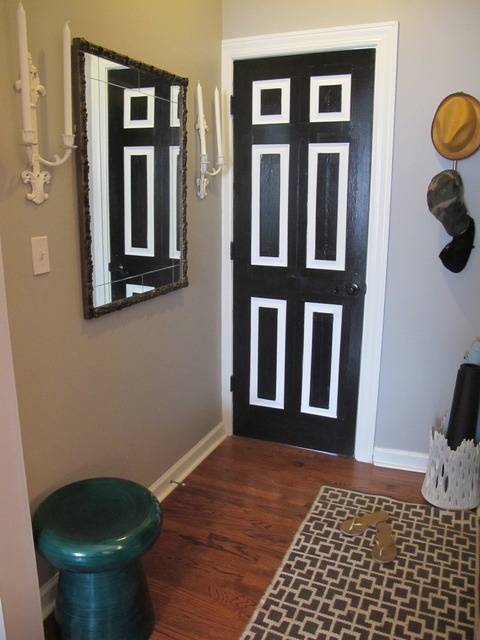 Black Duct Tape on a white door -- brilliant (and great for a rental)