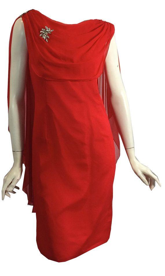 Vintage des années 1960 rouge à lèvres rouge en mousseline de soie Cape au dos robe de Cocktail avec strass S