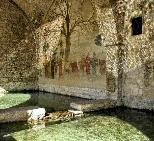 """The infamous """"Penis Tree"""" mural. It is a medieval communal fontana (or bath house) sometimes dubbed the Fountain of Abundance, and is located in the Tuscan town of Massa Marittima, Tuscany. It is approximately 750 years old and dates to the late 13th century.    O yes I need a bath house in the back woods here!  B-"""