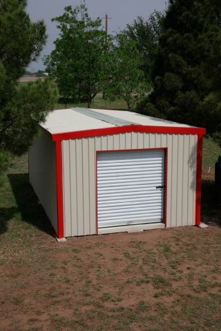 Size:  12x15; Walls:  Light Stone; Roof:  White; Trim:  Patriot Red; Roll-Up Door:  White #Backyard Kit #Mueller Metal Building