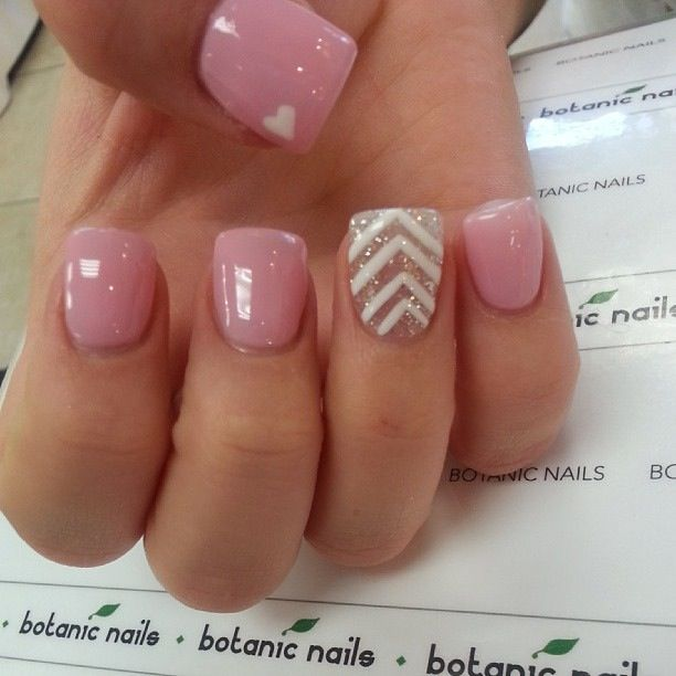 Botanic Nails pink w/ chevron accent nail design.