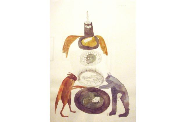 Erik Jerezano | Two Cousins Pushing a Tire to Infinity |Encre et aquarelle sur papier (ink and watercolour on paper) |2008