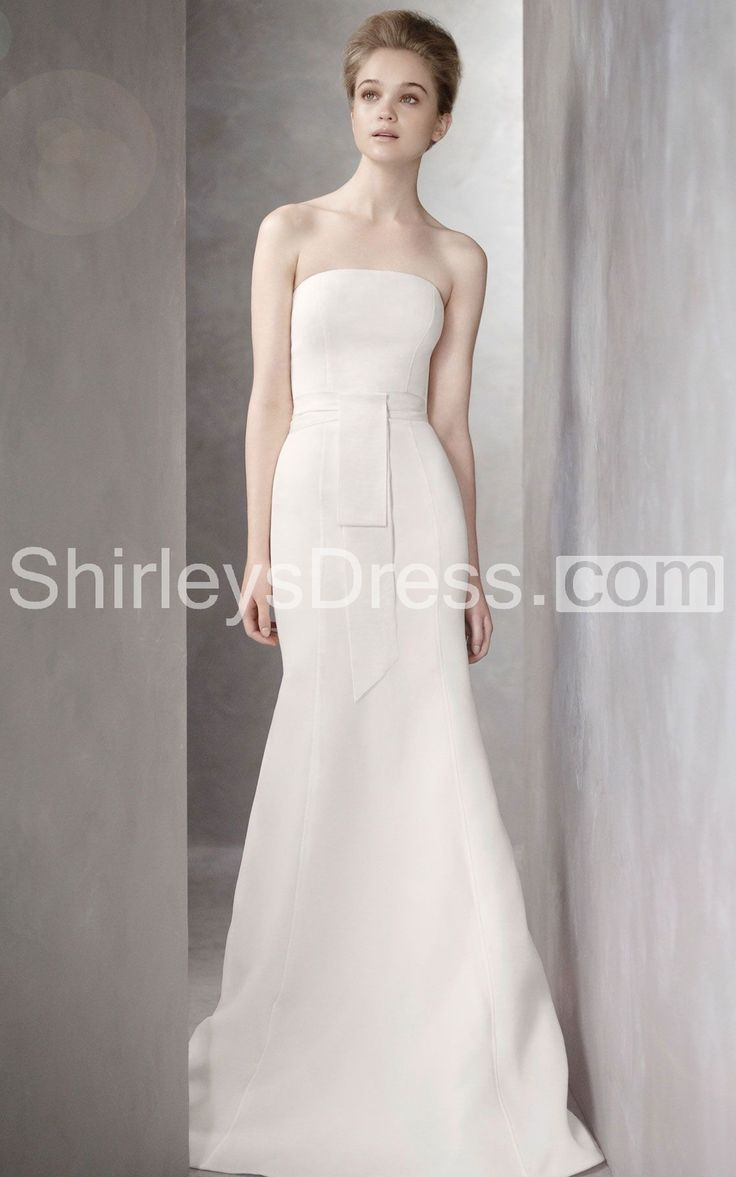 Simple Smooth Elegant Gazaar Wedding Gown With Sash and Sweep Train