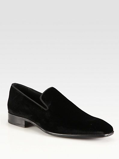 Our Saks Fifth Avenue smoking loafers get a luxe update in black velvet.