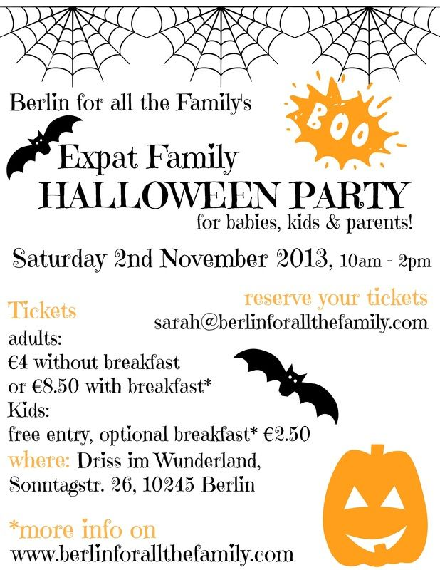 Celebrate Halloween like you used to back home. A fabulous traditional Halloween party for expats and their kids living in Berlin. A chance to meet other families living in the city and a good excuse to dress up and get spooky. Crafts activities and facepainting will be on offer. Tickets must be reserved.