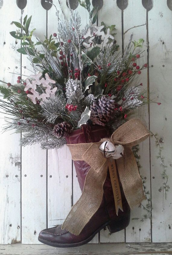 Christmas Arrangement Cowboy boot Holiday by SavannahsCottage